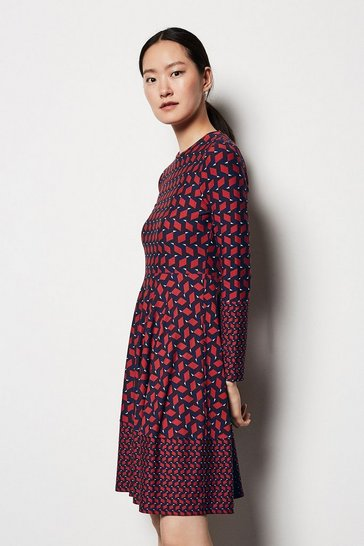 Womens Red Geo Print Dress