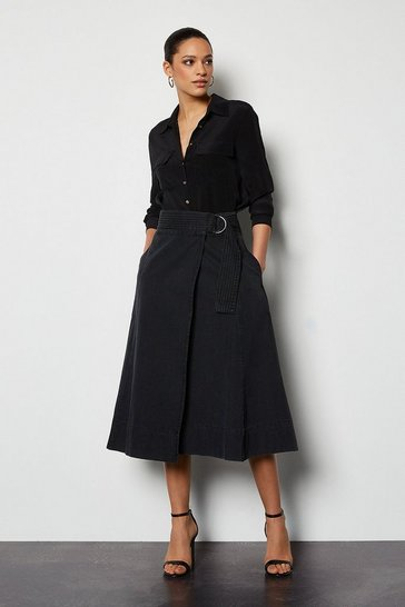 Womens Black Washed Denim Midi Skirt