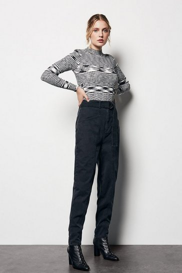 Womens Black D-Ring Trousers