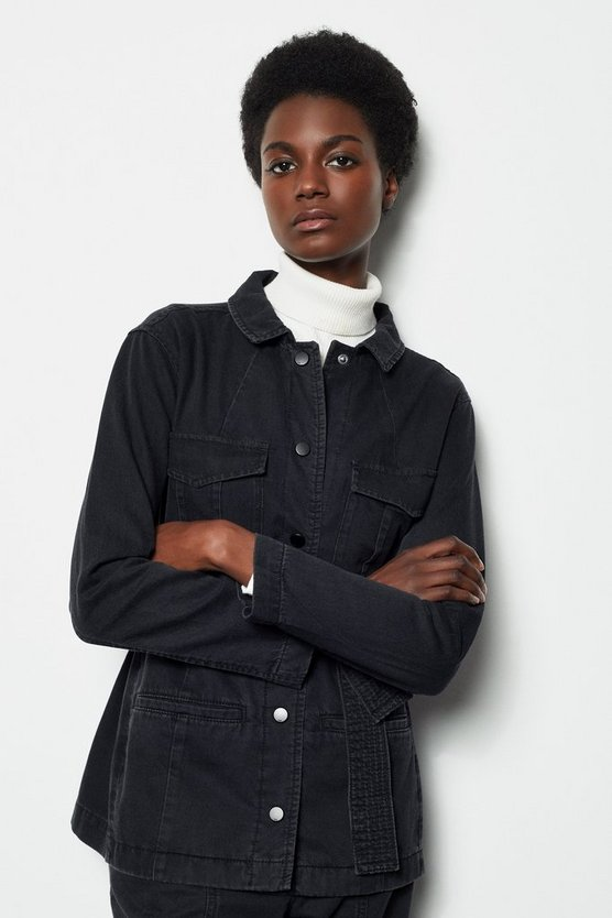 Womens Black Washed Denim Jacket