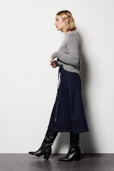Womens Midi Denim Skirt