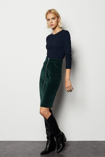 Womens Dark green Velvet Zip Through Midi Skirt