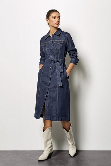 Womens Denim Midi Dress
