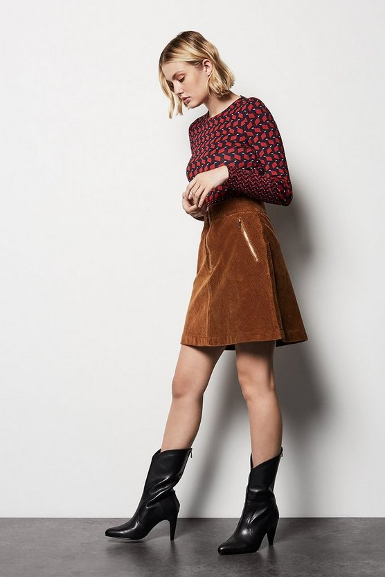 Womens Brown Cord Skirt