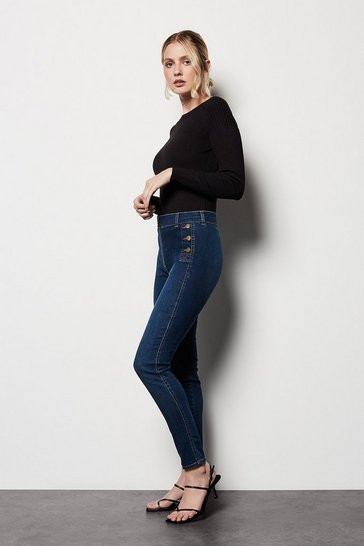 Womens Denim Button-Detail Skinny Jeans