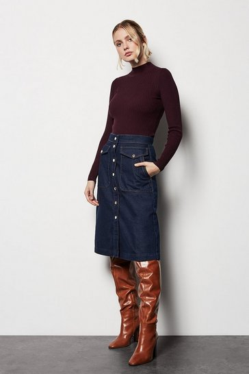 Womens Denim Popper Skirt