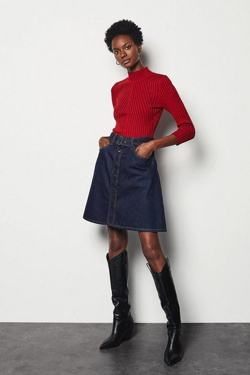Womens Denim A-line Mini Skirt