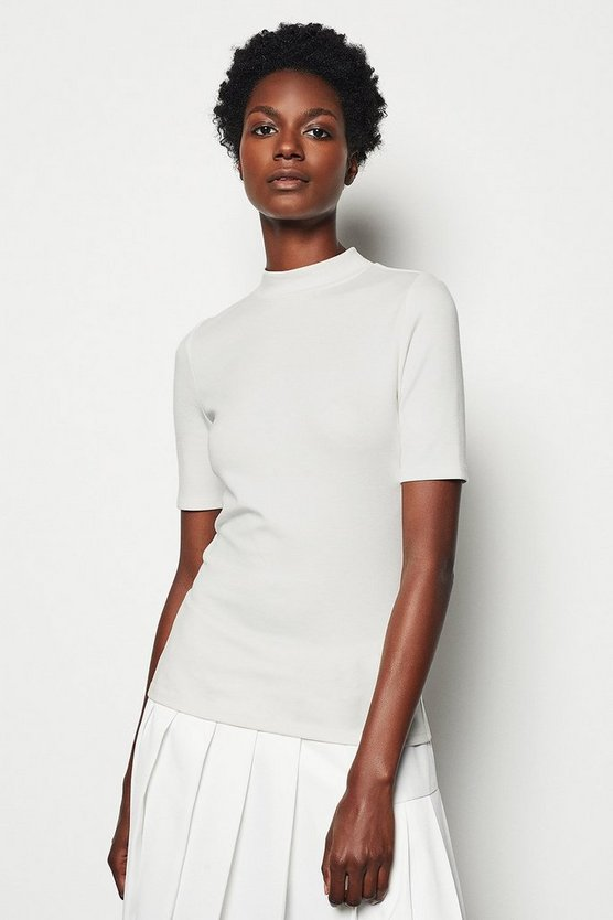 Ivory Funnel Neck Jersey Top