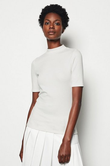 Womens Ivory Funnel Neck Jersey Top