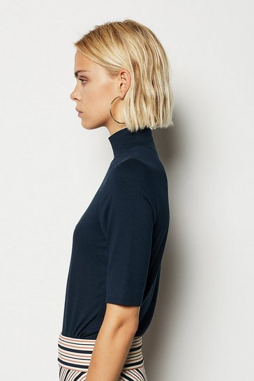 Womens Navy Funnel Neck Jersey Top