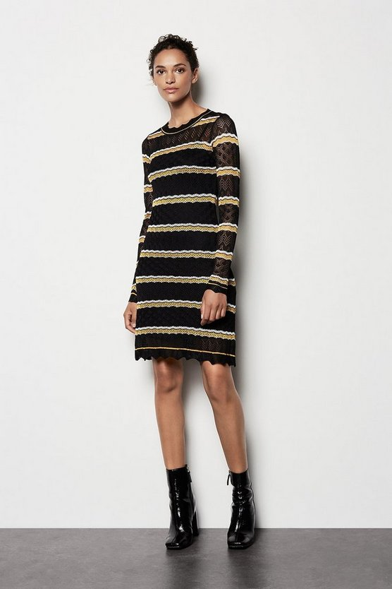 Womens Black Pointelle Stripe Knit Dress