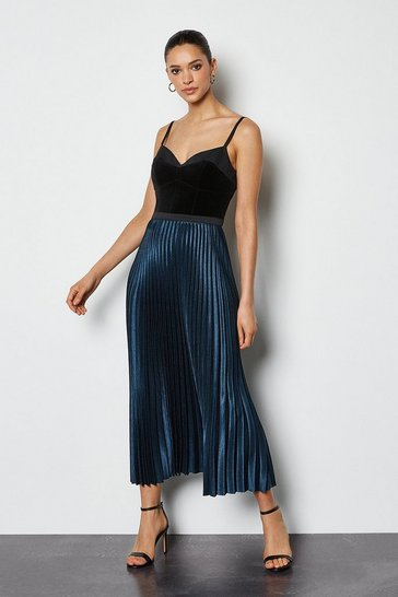 Womens Multi Pleated Maxi Skirt