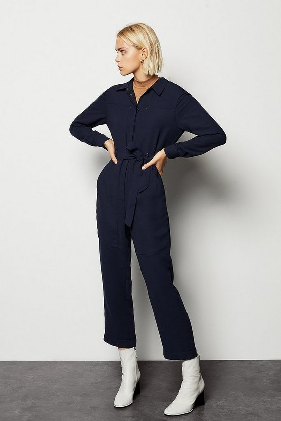 Womens Navy Utility Jumpsuit