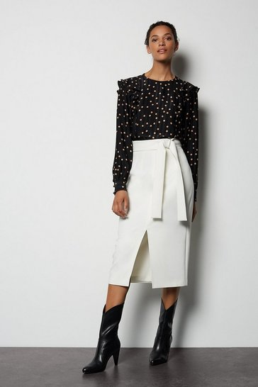 Womens Ivory Multi Stitch Pencil Skirt