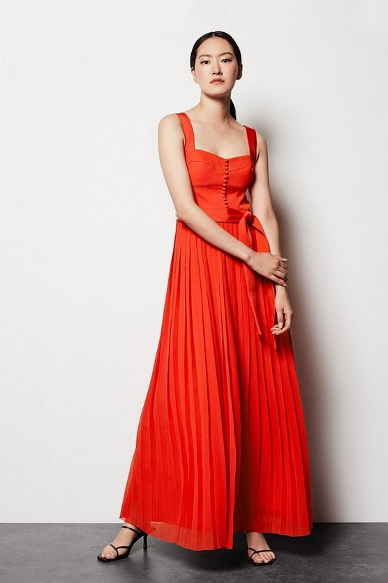 Womens Red Corset Pleated Dress