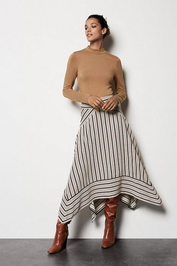 Womens Multi Striped Midi Skirt