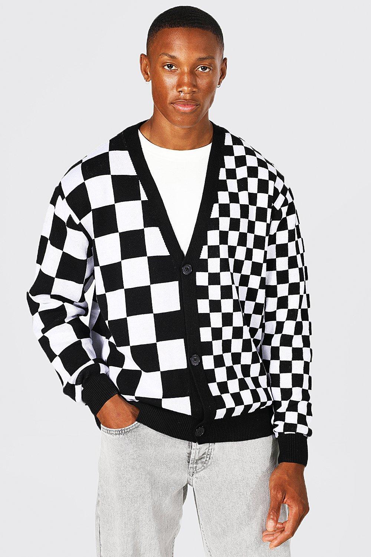 Men's Vintage Sweaters, Retro Jumpers 1920s to 1980s Mens Oversized Multi Scale Flannel Cardigan - Black $24.00 AT vintagedancer.com