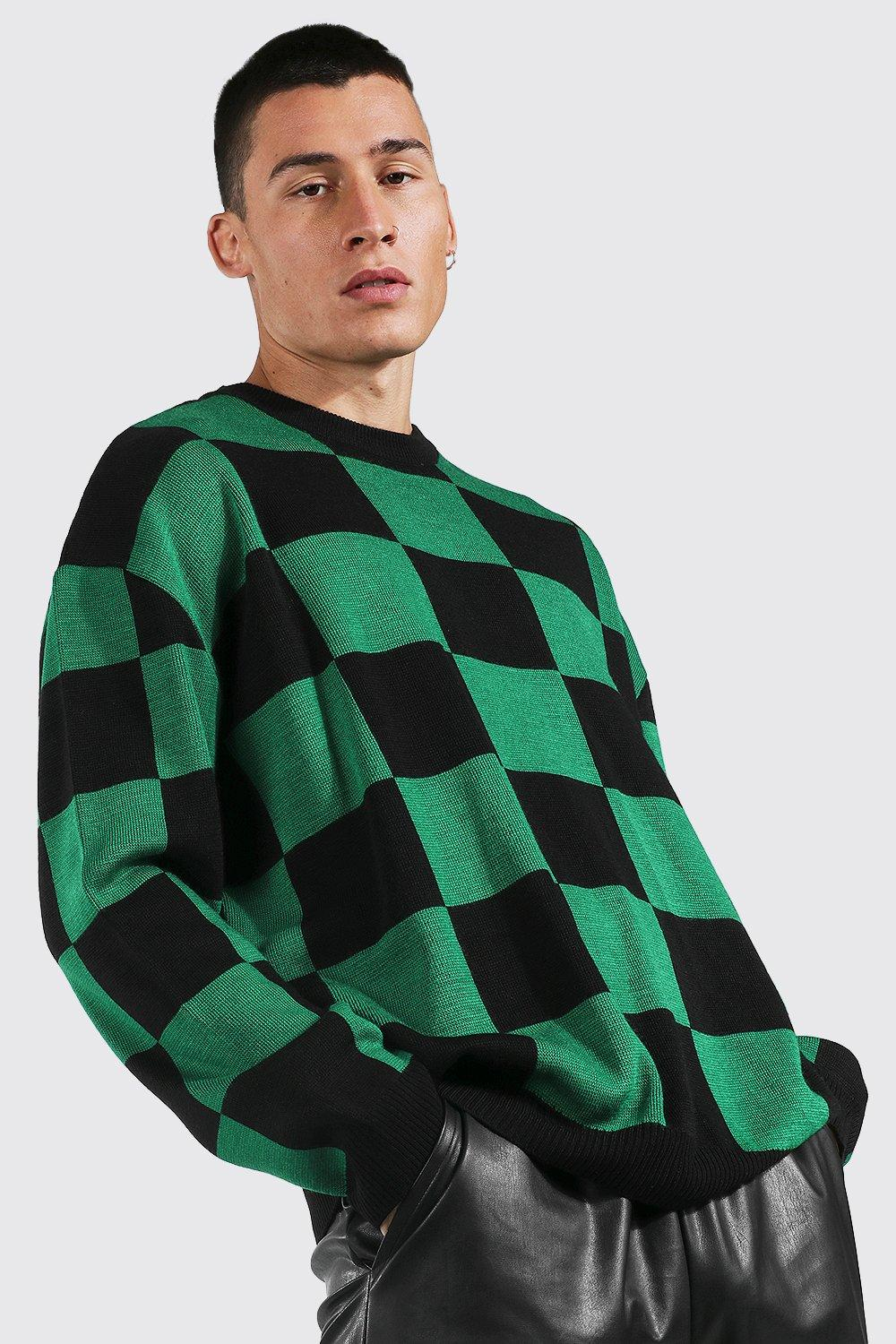 Men's Vintage Sweaters, Retro Jumpers 1920s to 1980s Mens Oversized Crew Neck Flannelerboard Sweater - Green $19.20 AT vintagedancer.com