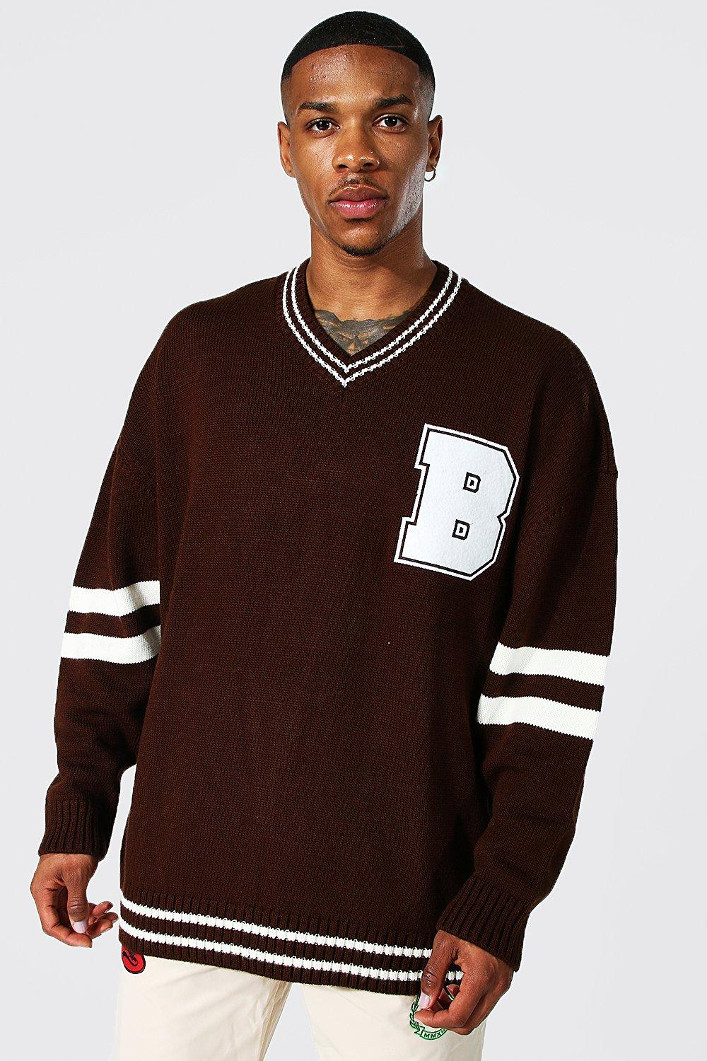 90s Outfits for Guys | Trendy, Party, Cool, Casaul Mens Oversized V Neck Varsity Badge Knitted Sweater - Brown $19.20 AT vintagedancer.com