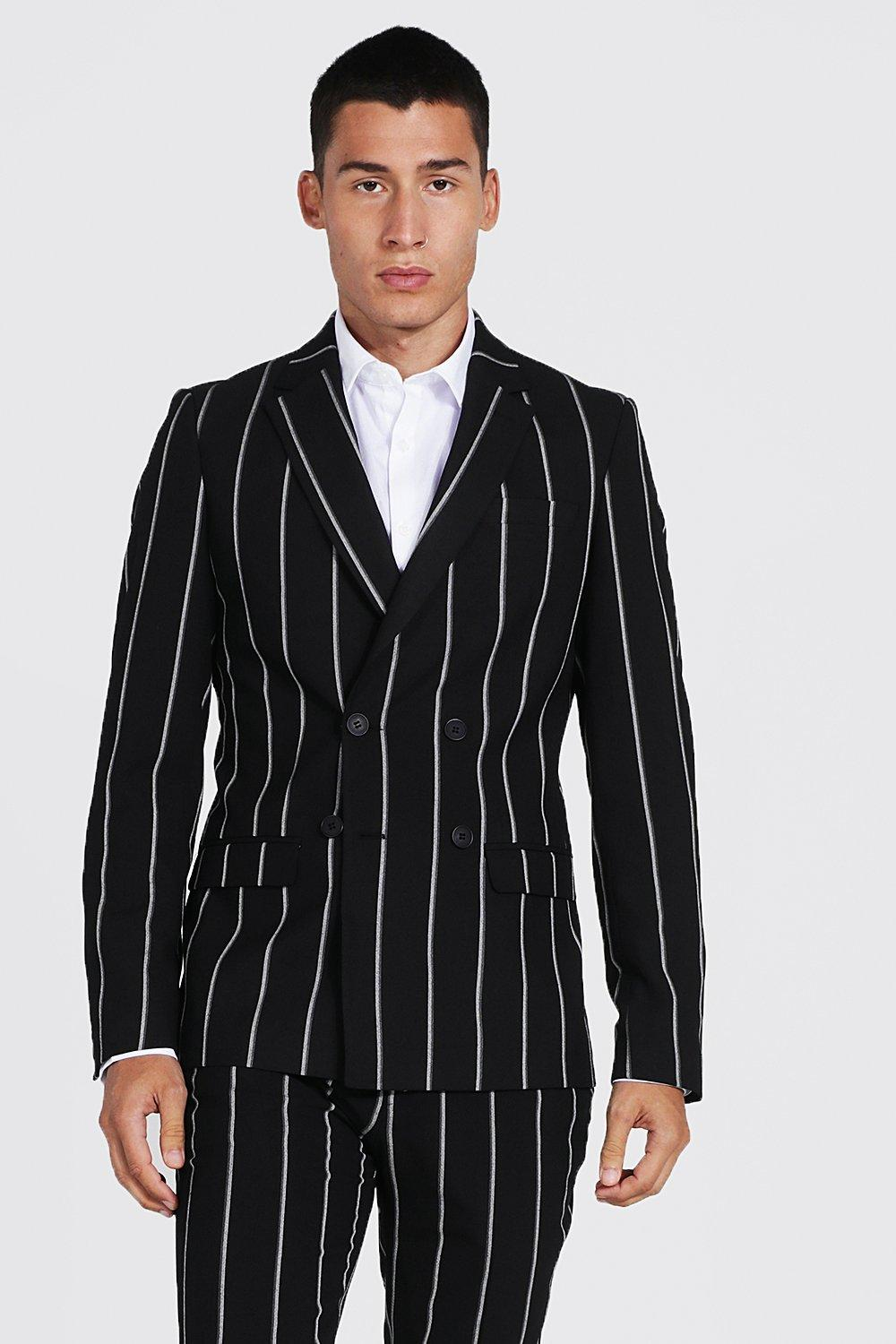 1970s Men's Suits History | Sport Coats & Tuxedos Mens Double Breasted Skinny Pinstripe Suit Jacket - Black $57.00 AT vintagedancer.com