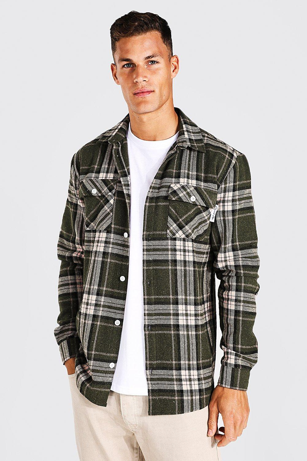90s Outfits for Guys | Trendy, Party, Cool, Casaul Mens Tall Long Sleeve Heavyweight Flannel Overshirt - Green $21.00 AT vintagedancer.com