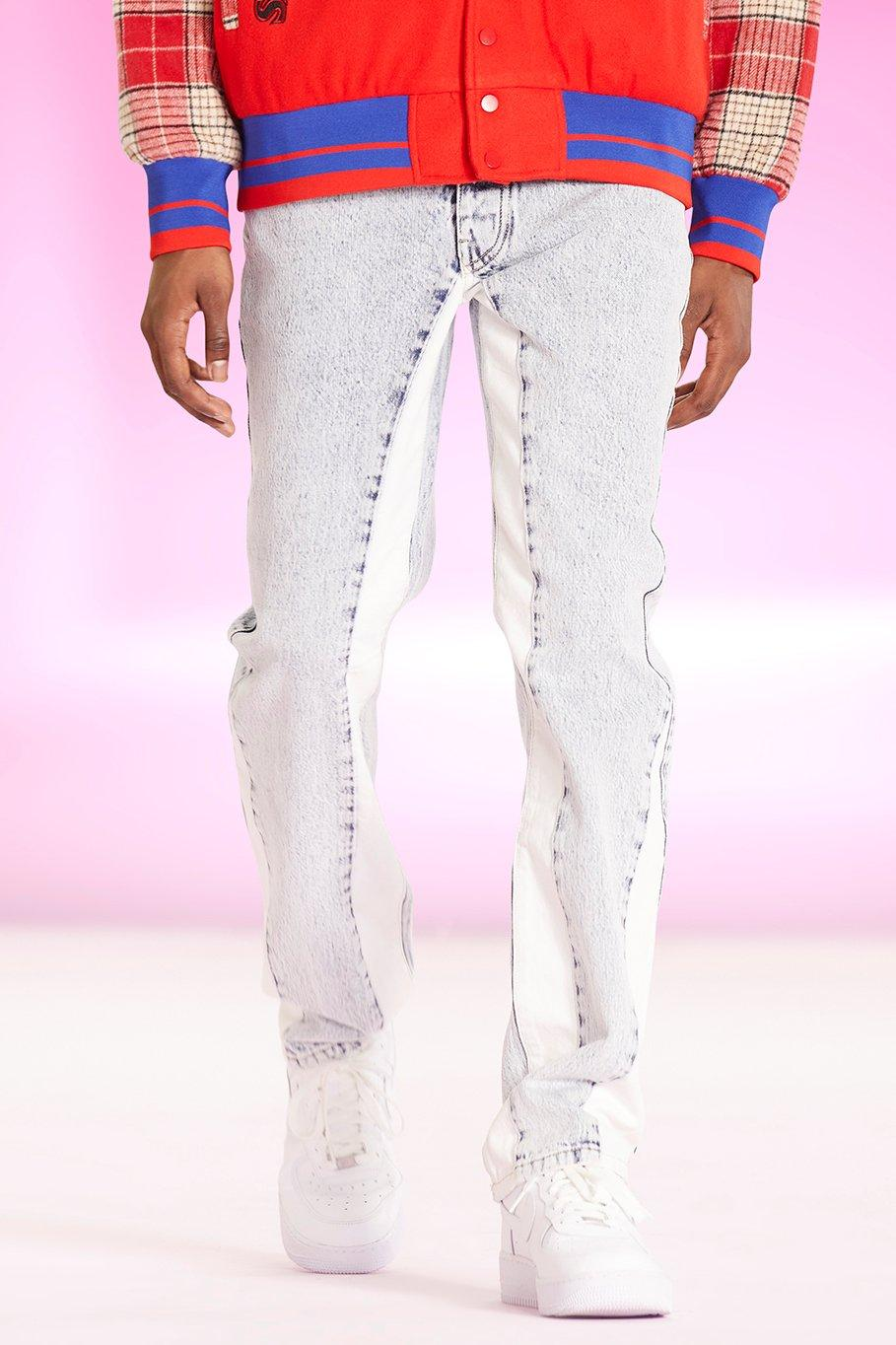 Men's Vintage Pants, Trousers, Jeans, Overalls Mens Straight Leg Panel Jeans - Blue $27.00 AT vintagedancer.com