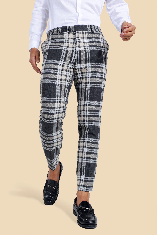 1960s Men's Clothing Mens Skinny Crop Large Flannel Tailored Pants - Black $27.00 AT vintagedancer.com