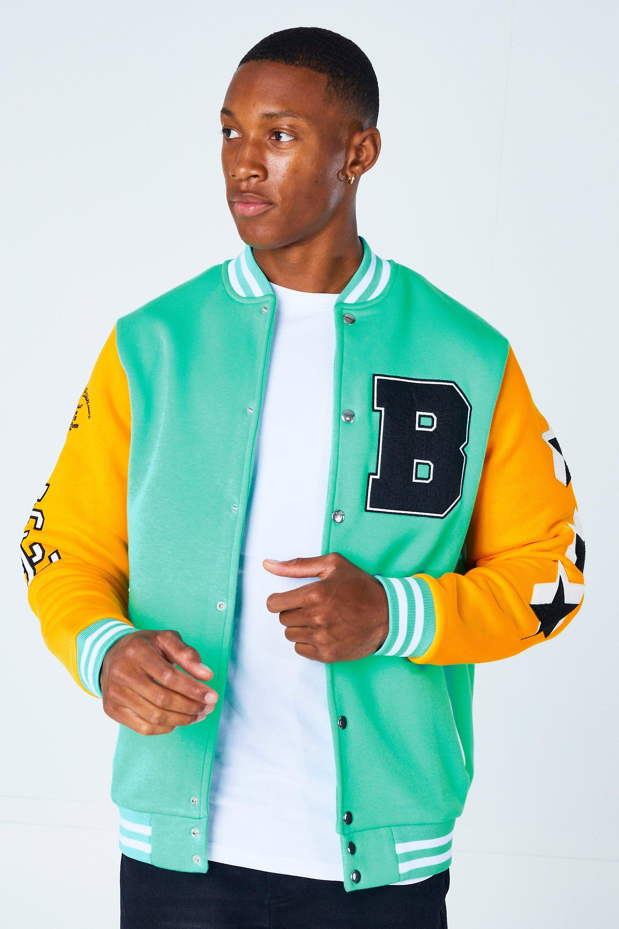 80s Windbreakers, Jackets, Coats | 90s Outerwear Mens Limited Badge Varsity Jersey Bomber - Green $55.00 AT vintagedancer.com