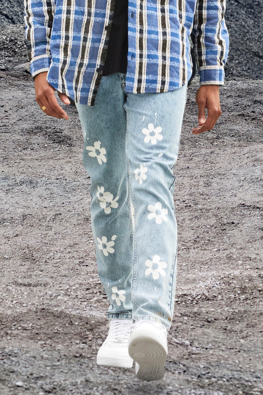60s – 70s Mens Bell Bottom Jeans, Flares, Disco Pants Mens Slim Fit Floral Printed Jeans - Blue $48.00 AT vintagedancer.com
