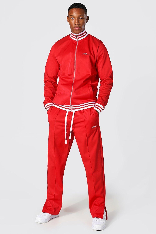 Men's Vintage Gym Clothes   Sweatshirts, Shorts, Tops, Shoes Styles Mens Man Signature Sports Rib Zip Tricot Tracksuit - Red $39.00 AT vintagedancer.com
