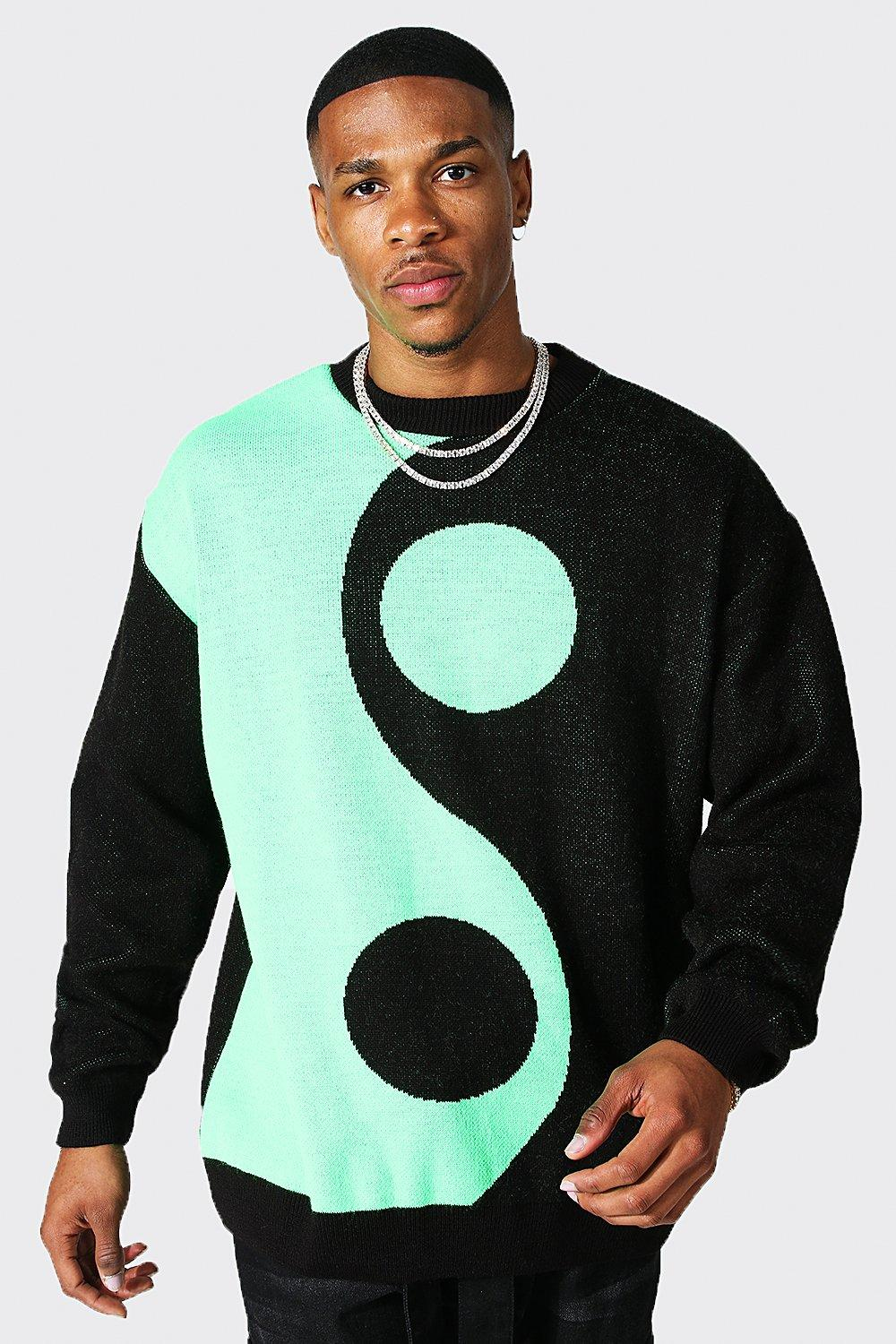 Men's Vintage Sweaters, Retro Jumpers 1920s to 1980s Mens Oversized Yin  Yang Knitted Sweater - Green $19.20 AT vintagedancer.com