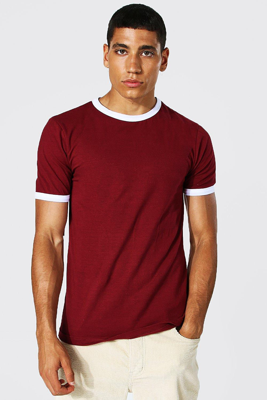 Men's Vintage Gym Clothes   Sweatshirts, Shorts, Tops, Shoes Styles Mens Muscle Fit Ringer T-shirt - Red $9.00 AT vintagedancer.com