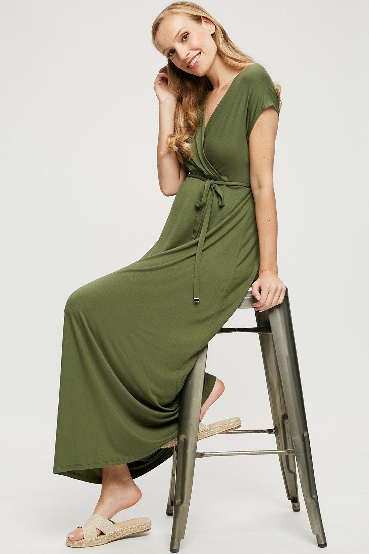 Women's Maternity Khaki Short Sleeve Maxi Dress - 8