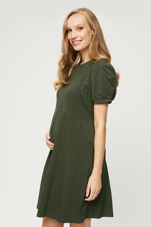 Women's Maternity Khaki Short Sleeve T-Shirt Dress - 8