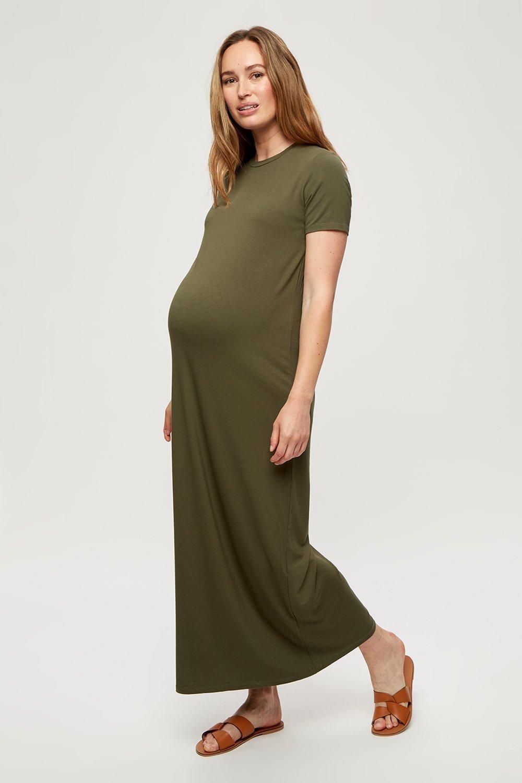 Women's Maternity Khaki T-Shirt Maxi Dress - S