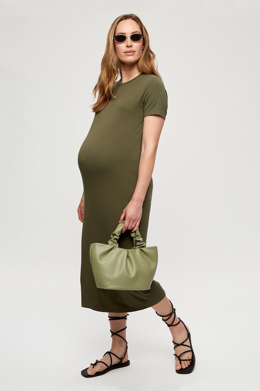 Women's Maternity Khaki T-Shirt Midi Dress - S