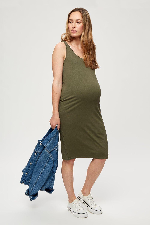 Women's Maternity Khaki Sleeveless Midi Dress - S