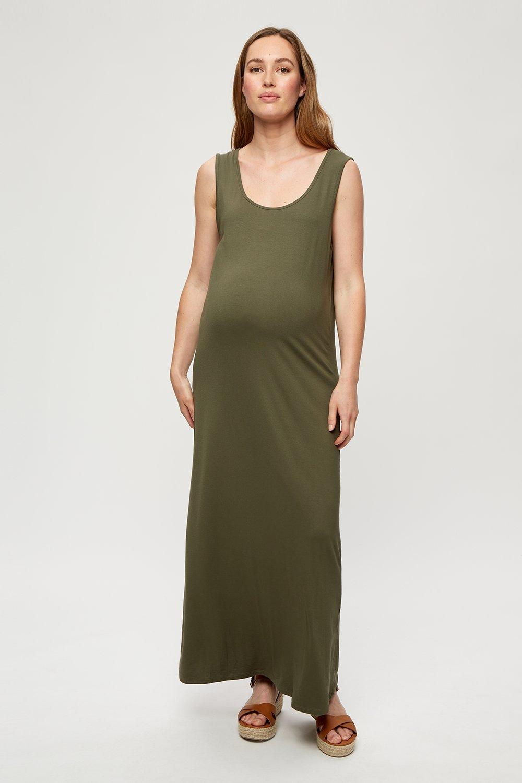Women's Maternity Khaki Sleeveless Maxi Dress - S