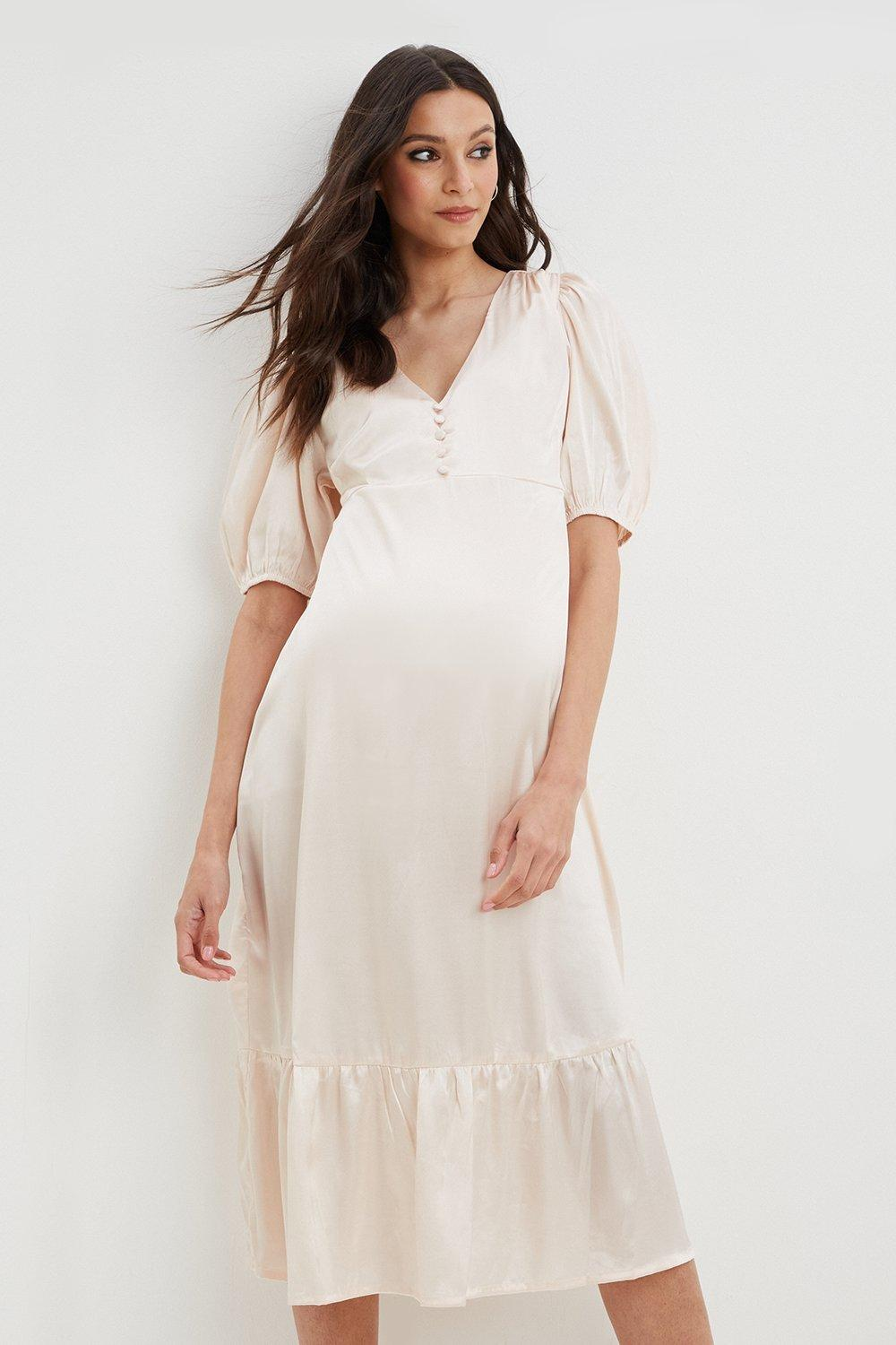 (!) Maternity Blush Button Front Midaxi Dress