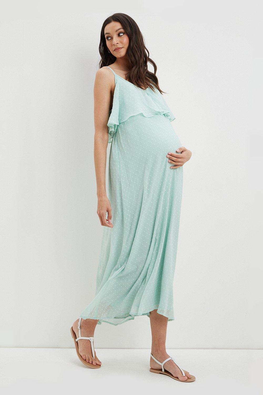 (!) Maternity Sage Dobby Strappy Maxi Dress