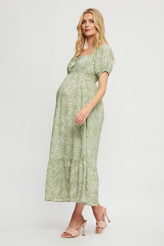 (!) Maternity Sage Non Print Tie Front Maxi Dress