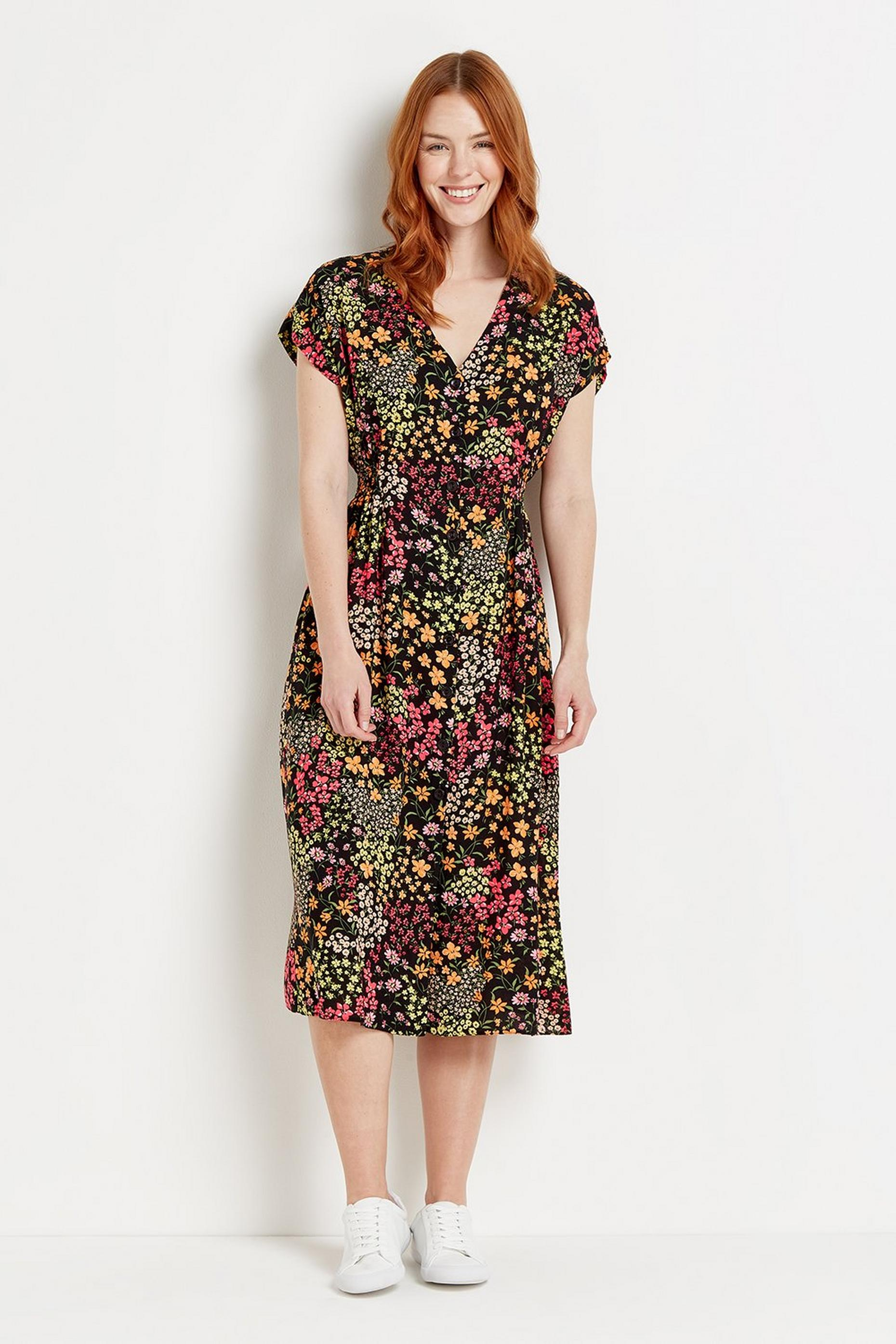 Black Ditsy Button Through Midi Dress