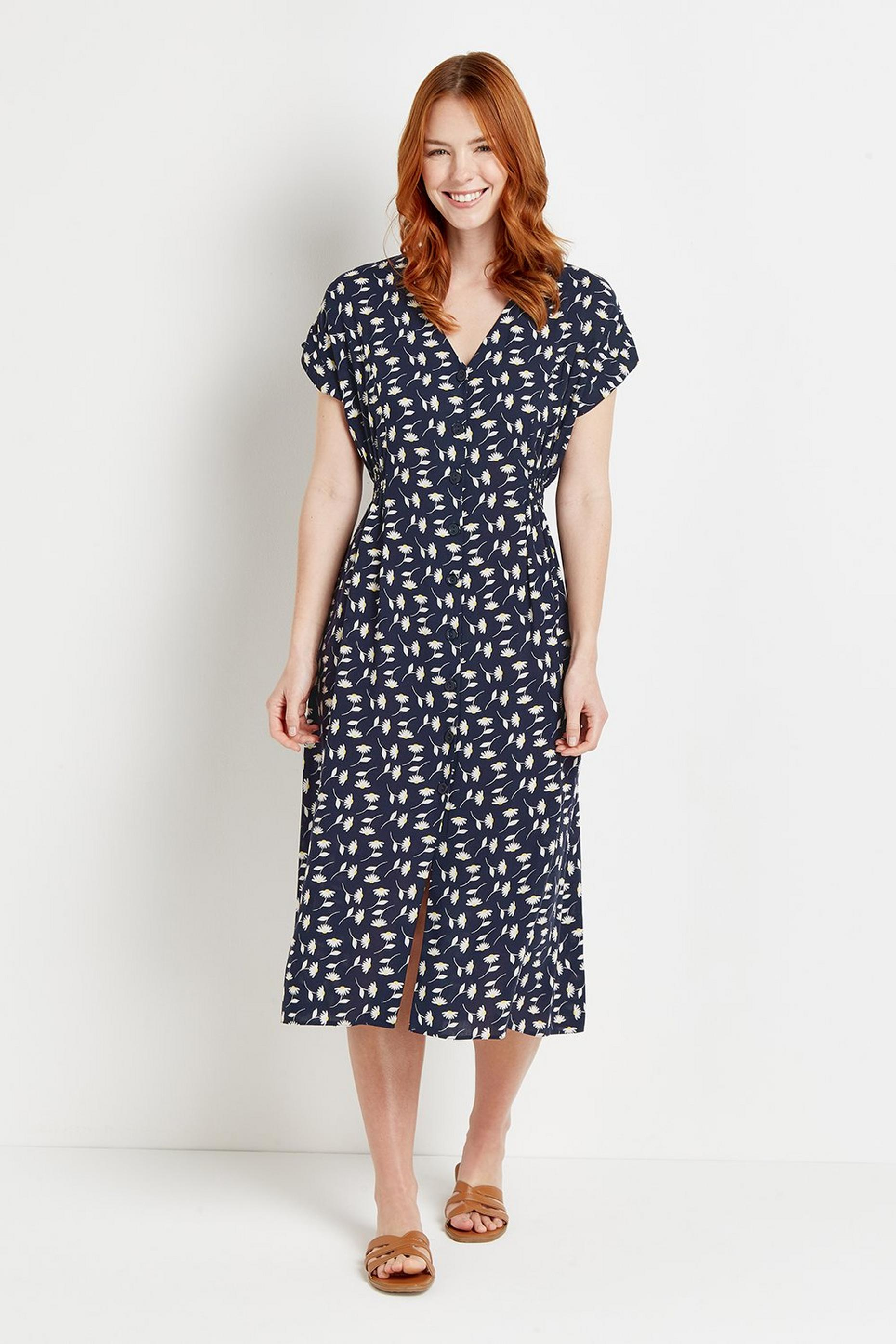 Navy Daisy Button Through Midi Dress