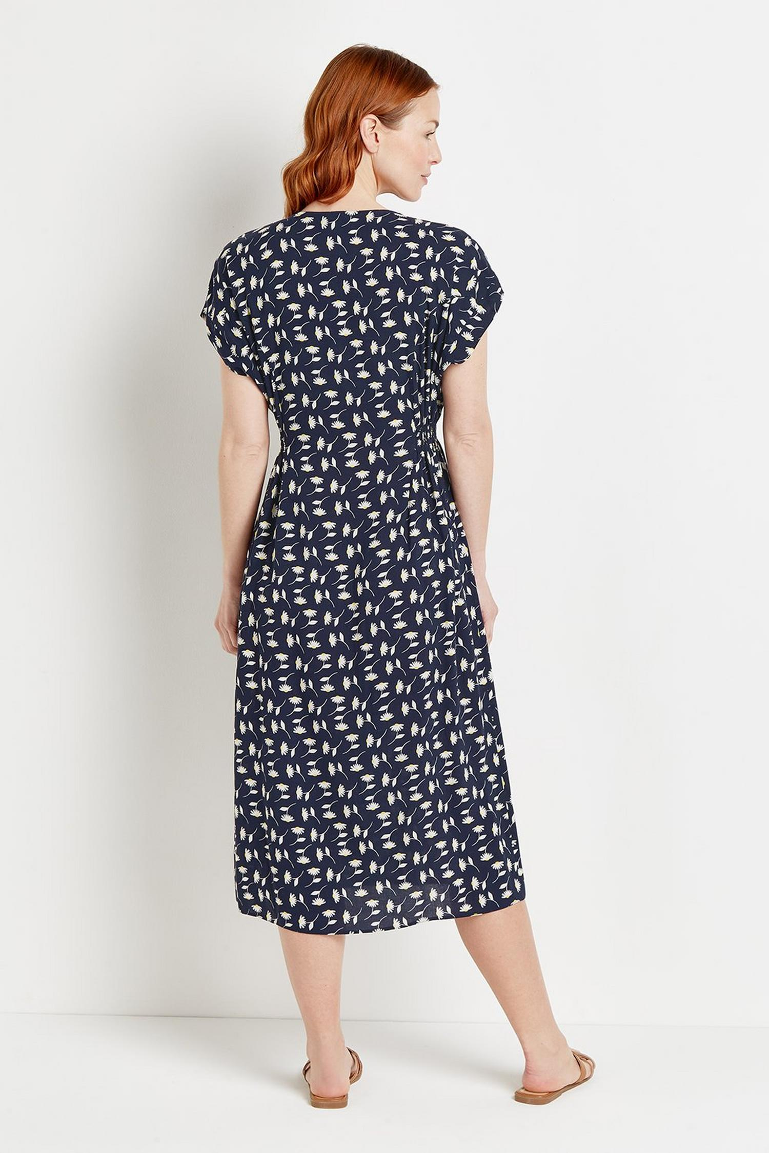 148 Navy Daisy Button Through Midi Dress  image number 3