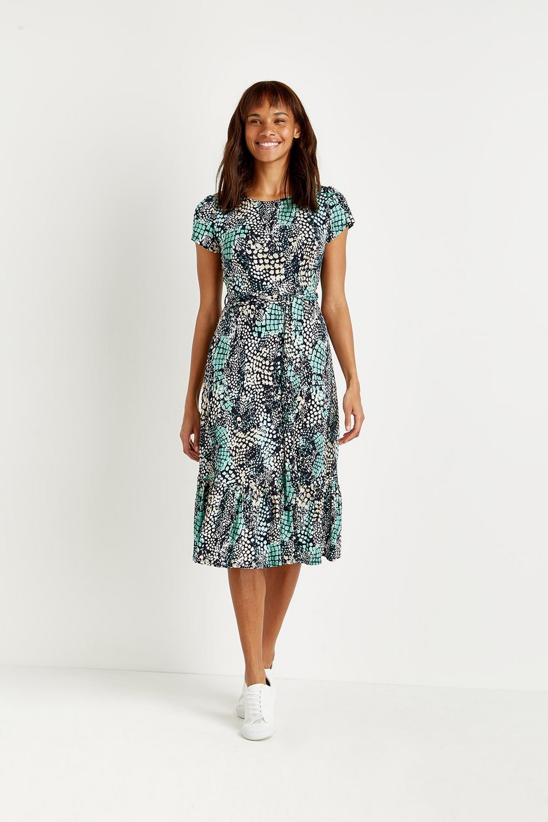 Petite Mint Snake Tiered Jersey Midi Dress