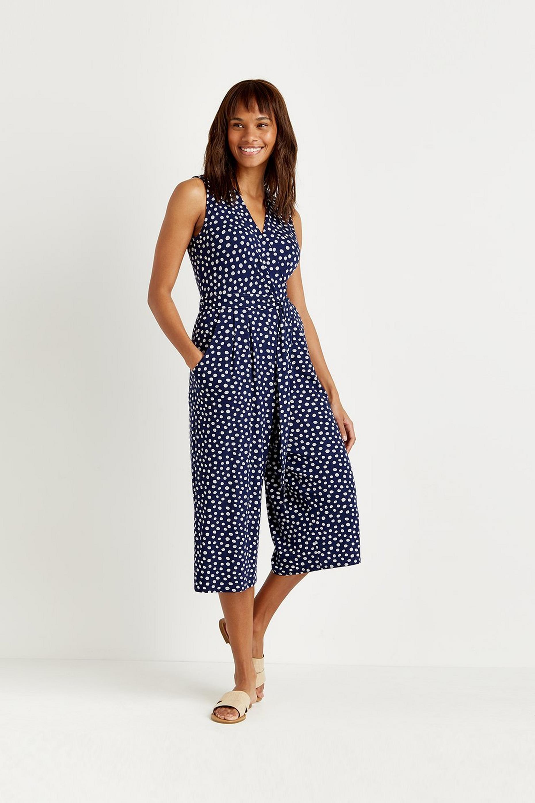Petites Navy Spot Jersey Cropped Jumpsuit