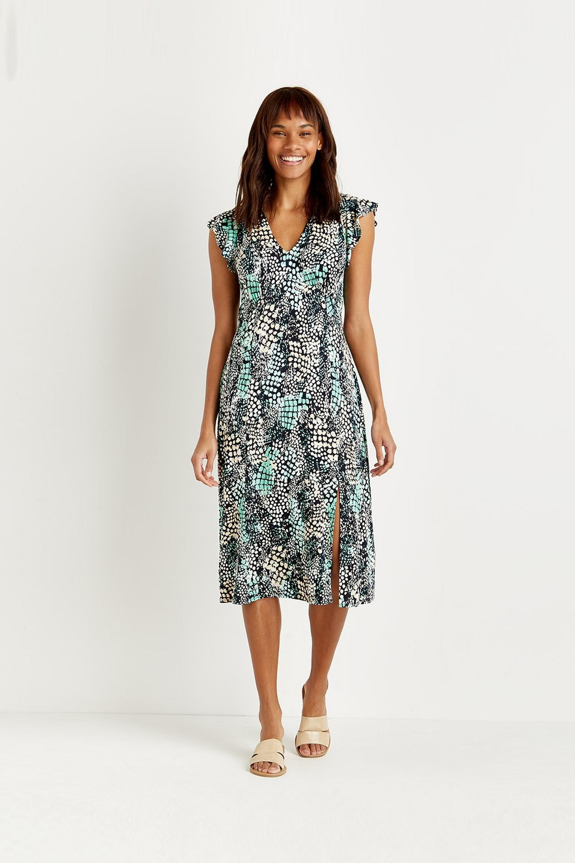 Petite Mint Snake Print Jersey Midi Dress