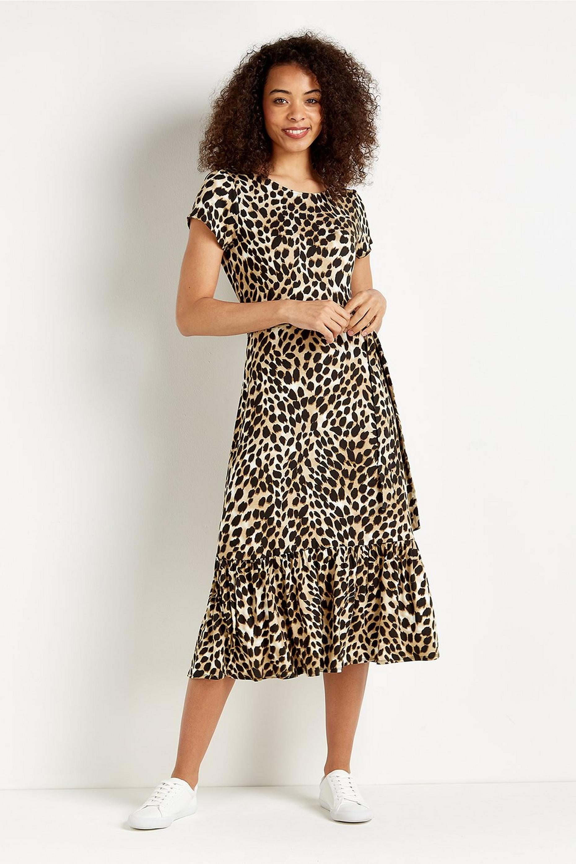 Animal Print Tiered Midi Jersey Dress