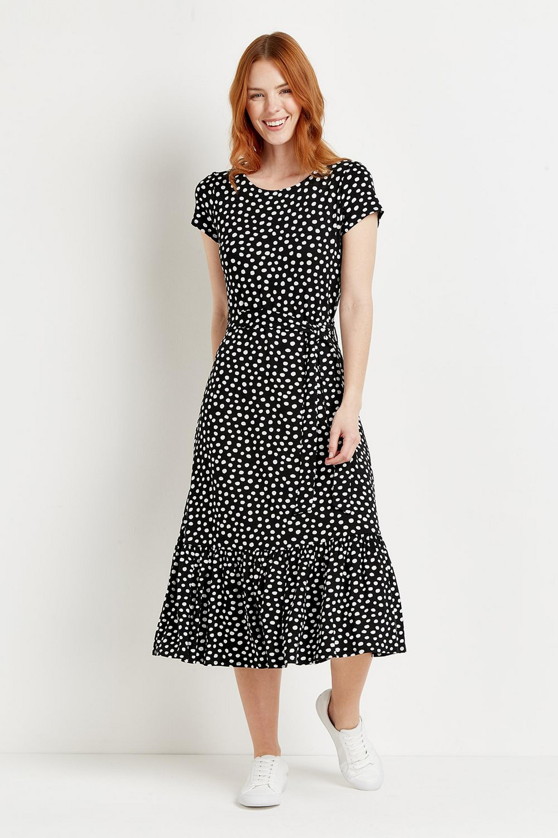 Black Spot Tiered Jersey Midi Dress