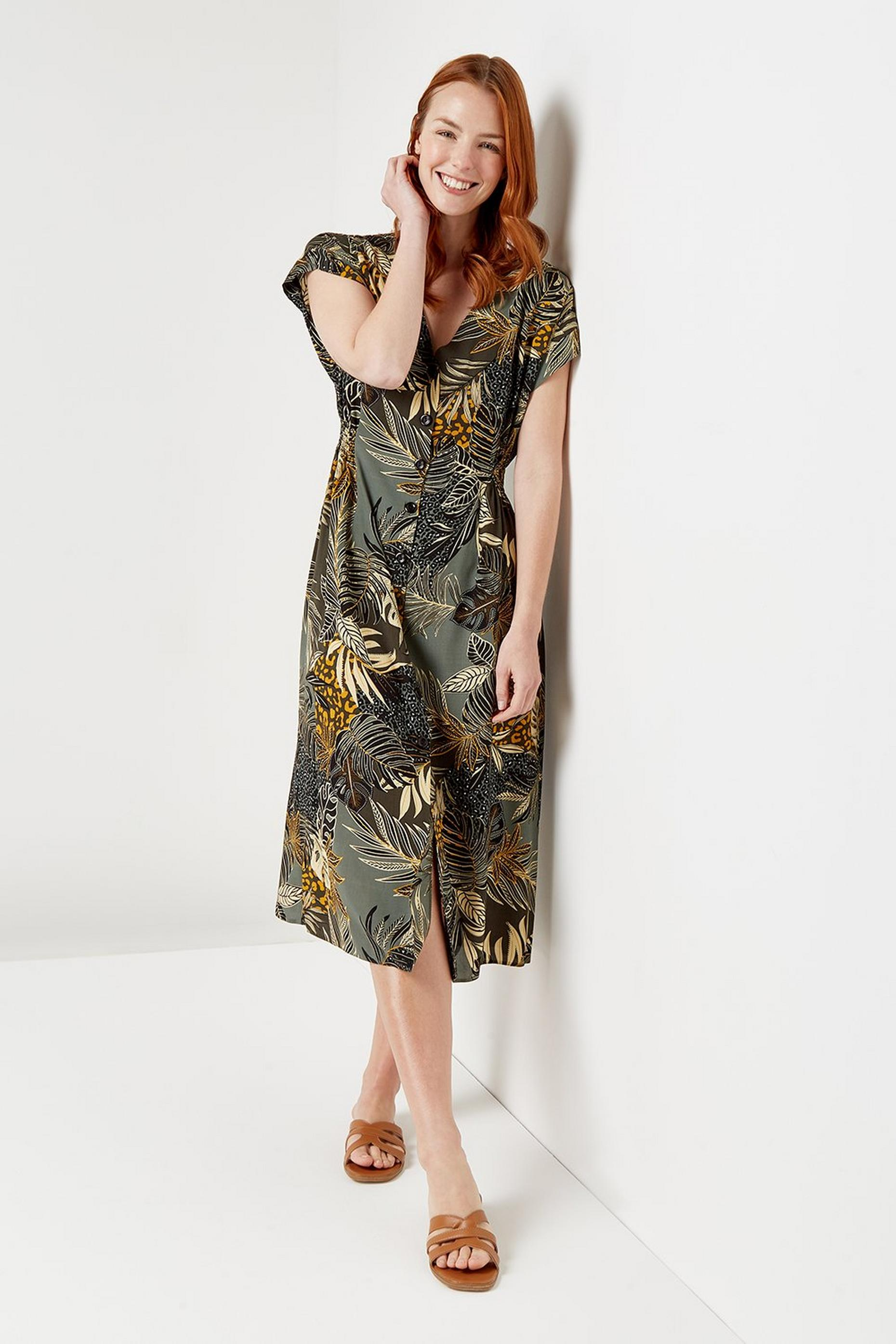 Khaki Jungle Button Through Midi Dress